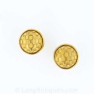14k Gold Woven Dome Earrings - 1