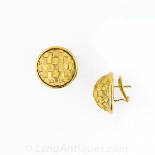 14k Gold Woven Dome Earrings
