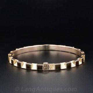 14K Rose Gold Geometric Hinged Bangle