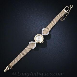 14k Yellow Gold and Diamond Bracelet Watch