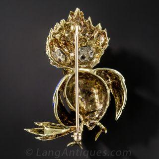 14K Yellow Gold Enamel Bird Brooch