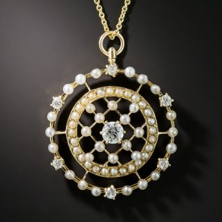 14k Yellow Gold Victorian Diamond and Seed Pearl Pin