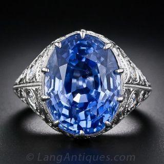 15.42 Carat No-Heat Ceylon Oval Sapphire and Diamond Ring - 1