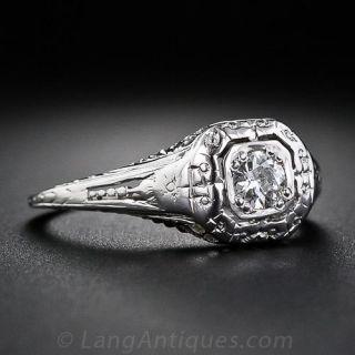 .15 Carat Filigree Diamond Engagement Ring - Circa 1930s