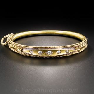 15CT English Victorian Diamond Bangle Bracelet