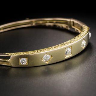 15K English Victorian Diamond Bangle Bracelet