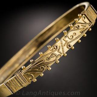 15K Victorian Etruscan Bangle Bracelet