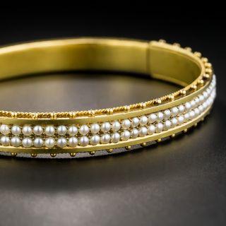 15K Victorian Seed Pearl Bangle Bracelet - 1