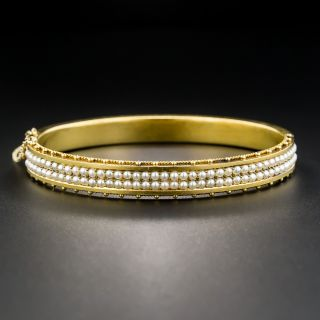 15K Victorian Seed Pearl Bangle Bracelet