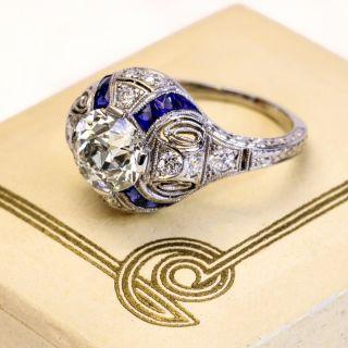 Art Deco 1.31 Carat Diamond and Sappphire Ring - GIA K VS1