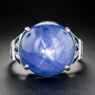 18.70 Carat Star Sapphire Art Deco Ring