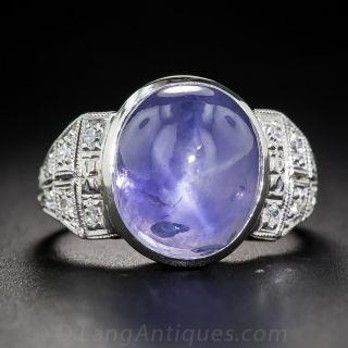 18 Carat No-Heat Burma Cabochon Sapphire Art Deco Ring