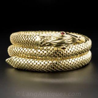 18 Karat Coiled Snake Bracelet