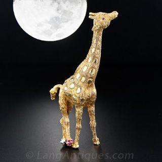 18 Karat Gold Giraffe Pin - 1