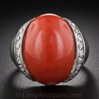 18 Karat White Gold Coral and Diamond Ring