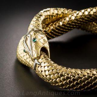 18 Karat Yellow Gold Snake Necklace