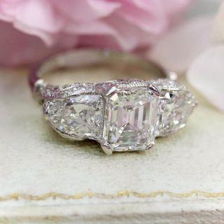 Art Deco 2.42 Carat Center Diamond Emerald-Cut Diamond Three-Stone Ring - GIA D,E,F VS