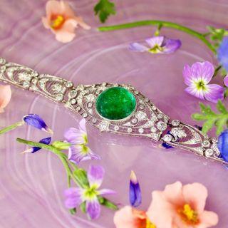 Edwardian Cabochon Emerald and Diamond Bracelet