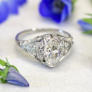 Art Deco 1.57 Carat Moval Diamond Engagement Ring - GIA G VS1