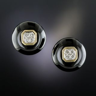 18K Black Onyx Diamond Ear Clips - 2