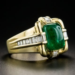 18K Cabochon Emerald and Baguette Diamond Ring