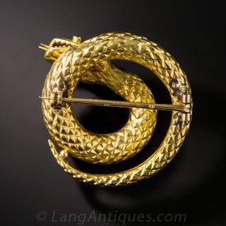 18K Coiled Snake Brooch