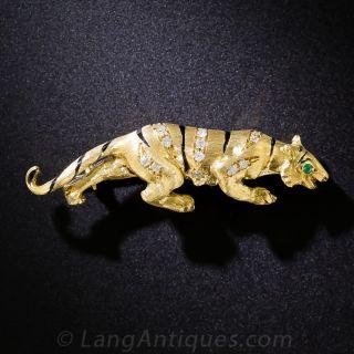 18k Diamond and Enamel Tiger Pin