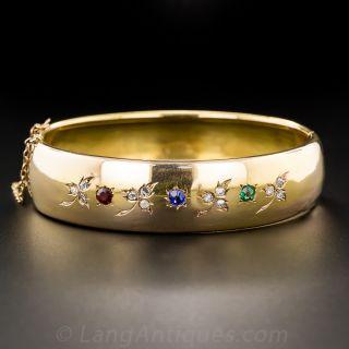 18K Diamond and Multi-Colored Stone Victorian Bangle Bracelet