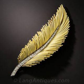 18K Diamond Feather Brooch