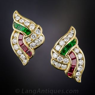 18k Diamond, Green Glass and Synthetic Ruby Earrings