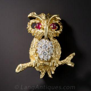 18K Diamond Owl Pin