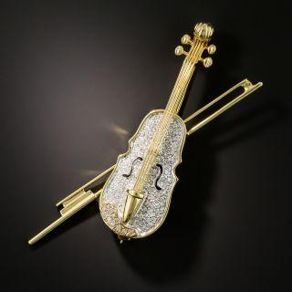 18K Diamond Violin Brooch - 1
