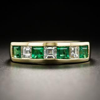 18K Emerald Diamond Band Ring - 1