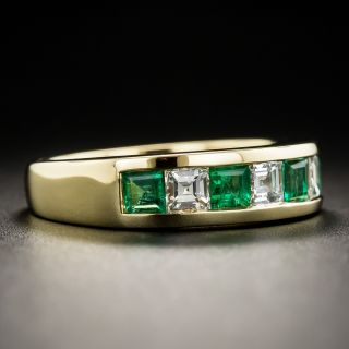 18K Emerald Diamond Band Ring
