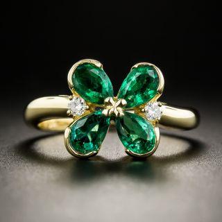 18K Emeralds Diamond Four-Leaf Clover Ring - 1