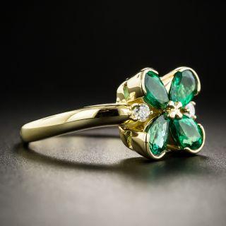 Emerald & Diamond Four-Leaf Clover Ring