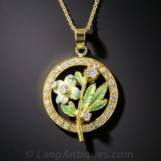 18K Enamel and Diamond Flower Pendant - 1