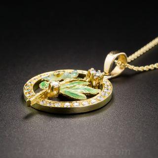 18K Enamel and Diamond Flower Pendant