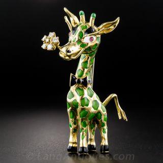18K Enamel and Diamond Giraffe Brooch