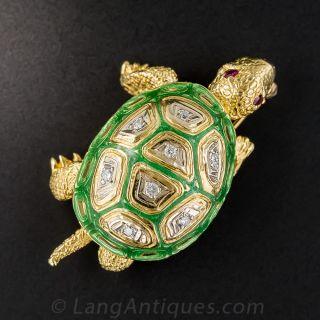 18K Enamel and Diamond Turtle Pin