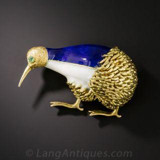 18K Enameled Kiwi Bird