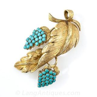 18K Gold and Turquoise Grapevine Brooch