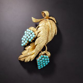 18K Gold and Turquoise Grapevine Brooch - 1