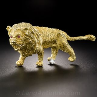 18K Gold Lion Brooch - 1