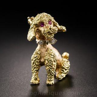 18K Gold Poodle Brooch