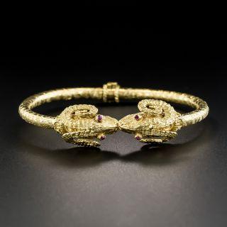 18K Greek Rams Head Bangle Bracelet