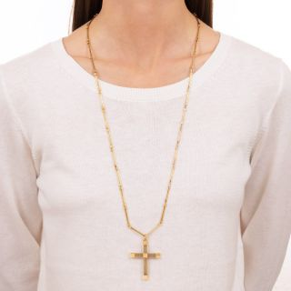18K Handmade Cross and Chain