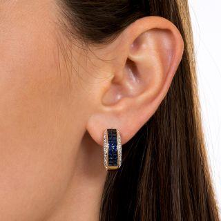 Invisible-Set Sapphire Diamond Hoop Earrings