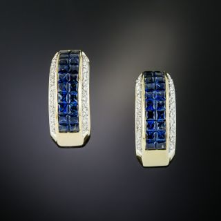 18K Invisible-Set Sapphire Diamond Hoop Earrings - 2