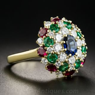 18K Multi-Color Diamond, Sapphire, Emerald and Ruby Ring